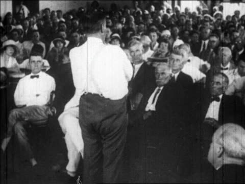 july 1925 rear view clarence darrow speaking to courtroom / scopes trial, tennessee / newsreel - 1925 stock videos & royalty-free footage