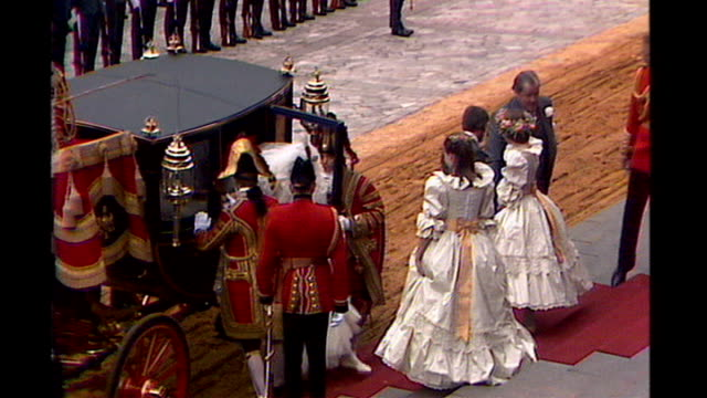 london ext prince charles leaving palace in carriage for royal wedding lady diana spencer inside carriage and from carriage in wedding dress lady... - carriage stock videos and b-roll footage