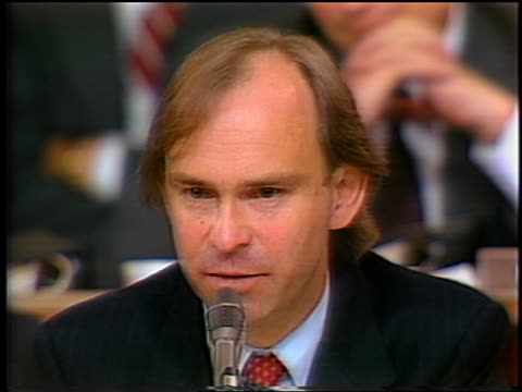 july 1987 close up house counsel john nields asking oliver north question during irancontra hearings - gerichtsverhandlung stock-videos und b-roll-filmmaterial