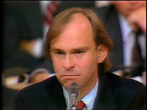 july 1987 close up house counsel john nields at microphone waiting for answer during irancontra hearings - only mid adult men stock videos & royalty-free footage