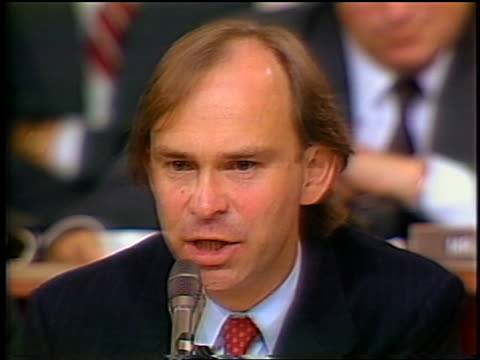 july 1987 close up of house counsel john nields questioning oliver north during irancontra hearings - only mid adult men stock videos & royalty-free footage