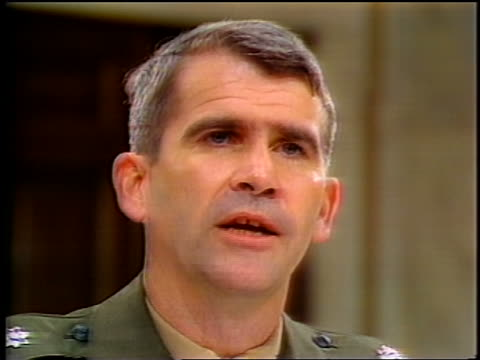 july, 1987 close up oliver north talking during iran-contra hearings - 1987 stock videos & royalty-free footage