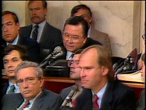 July 1987 Senator Daniel Inouye talking into microphone during IranContra hearings