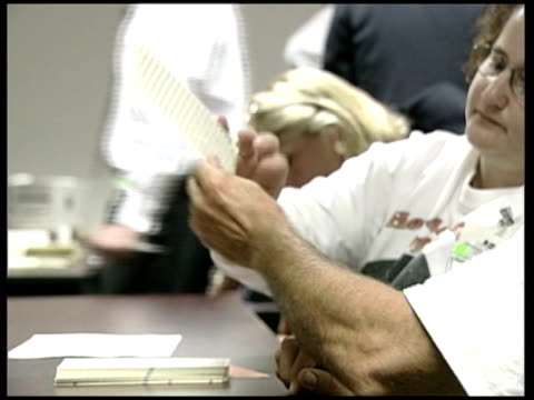 july 2000 election officials scrutinising ballot papers for hanging chads gv people in voting booths black women voting cms electronic voting cms... - hanging stock videos & royalty-free footage
