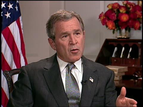 july 2003 gw bush gesturing and talking about using american power as positive force / audio - only mature men stock videos & royalty-free footage