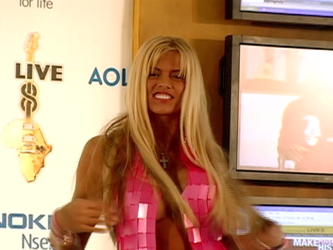 July 2005 Medium shot scantily clad Anna Nicole Smith appearing during Live 8 telecast/ Philadelphia
