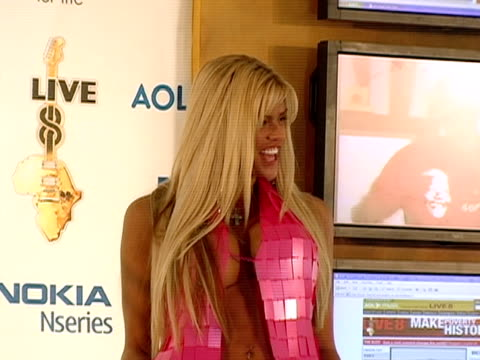 july 2005 medium shot scantily clad anna nicole smith appearing during live 8 telecast/ philadelphia - anna nicole smith stock videos & royalty-free footage