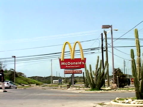 july 2005 wide shot mcdonalds restaurant/ guantanamo bay - guantanamo bay stock videos & royalty-free footage