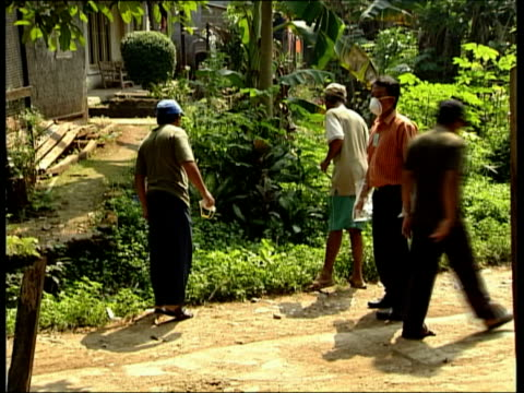 vidéos et rushes de july 2006 montage un officials in village to test chickens for avian influenza/ west java java indonesia/ audio - virus de la grippe aviaire