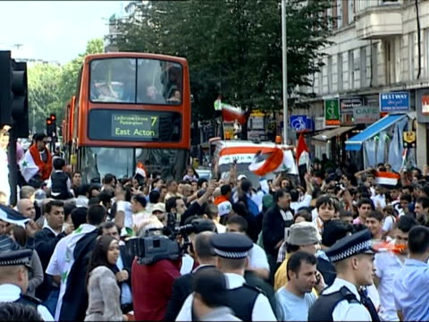 july 2007 ms iraq football supporters in london celebrating asian cup win/ london england/ audio - 2007 stock videos & royalty-free footage
