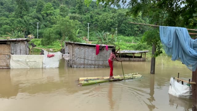 vidéos et rushes de july 2020 villager uses a banana tree raft to move across a flooded locality due to monsoon rains in kamrup district of assam india 14 july 2020... - bananier