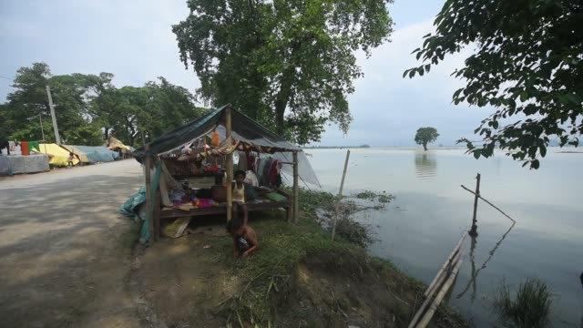 july 2020 villagers in a makeshift shelter in a flooded area at buraburi village in morigaon district of assam on wednesday july 1 2020 - makeshift stock videos & royalty-free footage