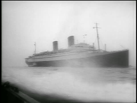 B/W July 26 1956 boat point of view ship on ocean / Ile de France carried survivors of Andrea Doria / news