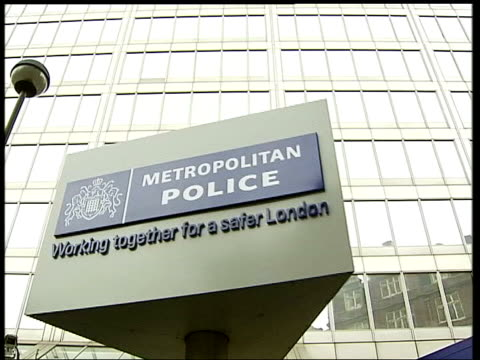 999 phone call played at inquiry date gvs scotland yard and revolving sign tx july 2005 int emergency services press conference following 7/7 bombings - conference phone stock videos & royalty-free footage