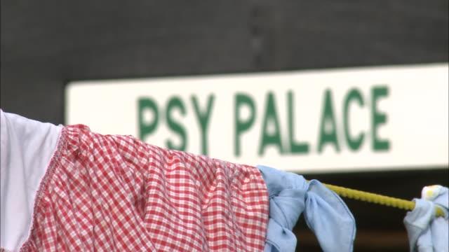 july 8 2010 cu clothes hanging on line / portauprince haiti - hispaniola stock videos & royalty-free footage
