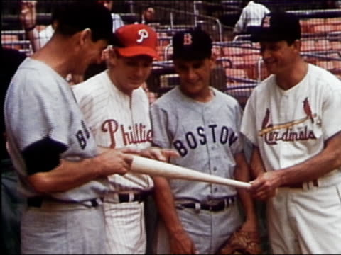 july 9 1957 ms posing for pictures at the all star game ted williams rookie pitcher jack sanford rookie third baseman frank malzone and stan musial... - philadelphia phillies stock-videos und b-roll-filmmaterial