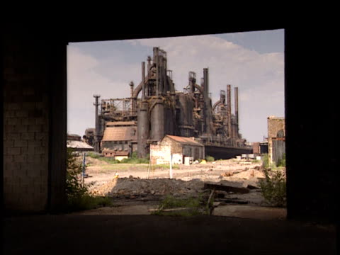 july 9 2001 ws building viewed through a doorway at bethlehem steel corporation / bethlehem pennsylvania united states - bethlehem pennsylvania stock videos & royalty-free footage