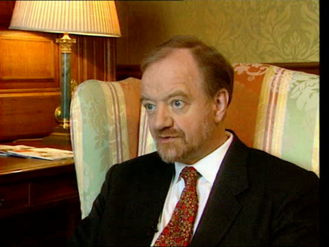 london int robin cook mp interview sot talks of support for mine removal - robin day stock-videos und b-roll-filmmaterial