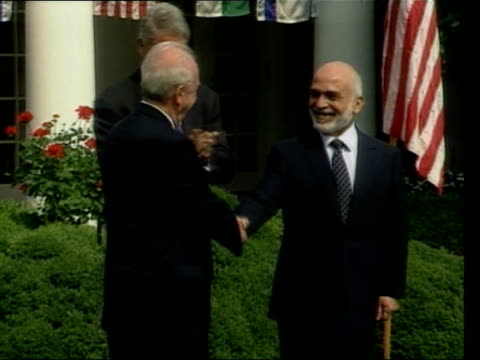 stockvideo's en b-roll-footage met july in 1994 israel and jordan signed a peace agreement washington the white house ext king hussein of jordan and israeli prime minister yitzhak... - yitzhak rabin