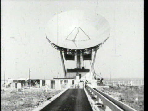 july telstar satellite launched in 1962 cornwall goonhilly downs ext b/w satellite dish telstar 1st british transatlantic earth station int b/w... - telstar stock-videos und b-roll-filmmaterial