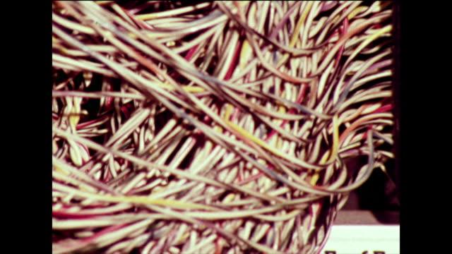 vídeos de stock, filmes e b-roll de cu of jumbled multi-coloured cables; 1973 - cable tv