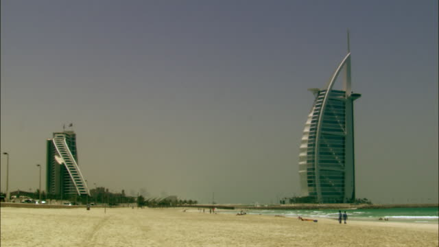 ws, jumeirah beach and burj al arab hotel, dubai, united arab emirates - 2005 stock videos and b-roll footage
