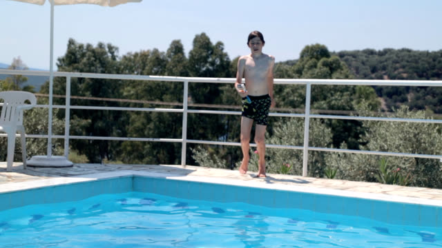 Jumping in swimming pool