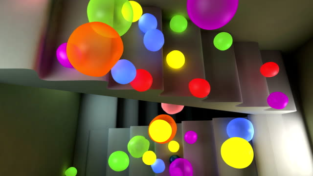 jumping spheres. - steps and staircases stock videos & royalty-free footage
