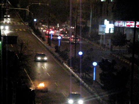 jun 2009 burning items on street during protests on city road at night / teheran, iran / audio - 2009 stock videos & royalty-free footage