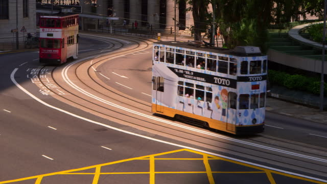 junction  structures  hong kong - tram stock videos & royalty-free footage