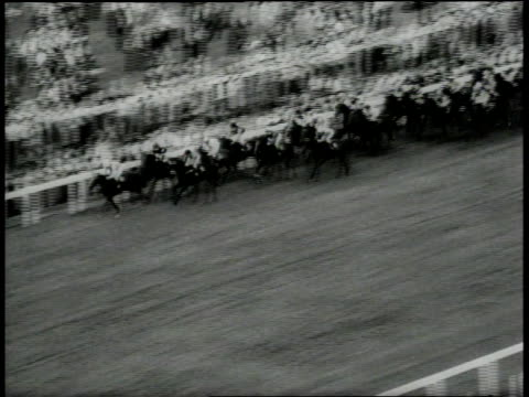 June 16 1966 MONTAGE spectators watch as the horses race man in top hat looking through binoculars / Ascot Berkshire United Kingdom