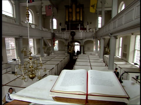 june 16 2003 pov interior of old north church in boston / boston massachusetts united states - old north church stock videos & royalty-free footage