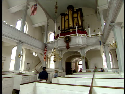 june 16 2003 la interior view of old north church in boston / boston massachusetts united states - old north church stock videos & royalty-free footage