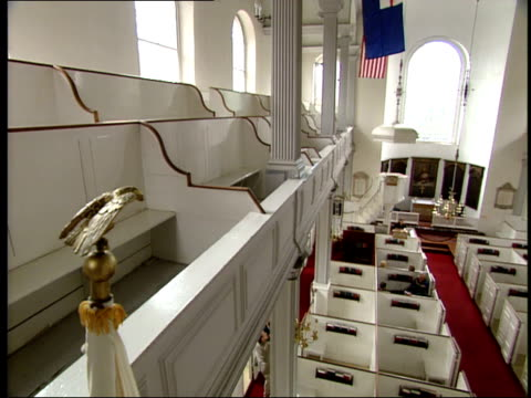 june 16 2003 montage balcony and pews and tourists listening to a speaker in old north church in boston / boston massachusetts united states - old north church stock videos & royalty-free footage