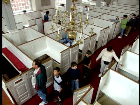 june 16 2003 ha tourists walking the aisles of old north church in boston / boston massachusetts united states - old north church stock videos & royalty-free footage