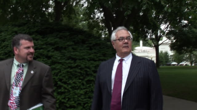 June 17 2009 MS Representative Barney Frank and others leaving the White House following President Obama's address on the economy / Washington DC /...