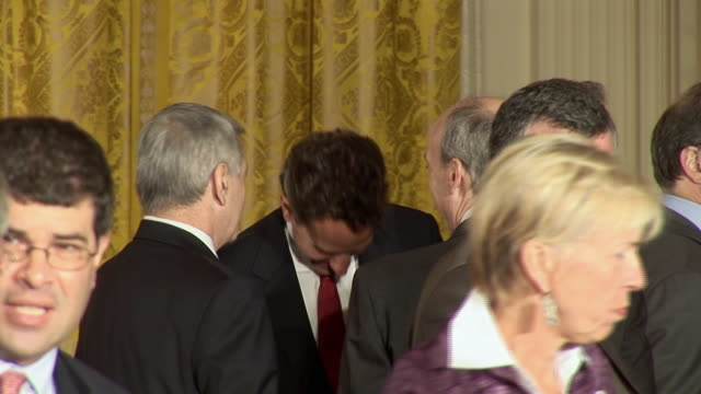 june 17 2009 ms treasury secretary timothy geithner and others talking in the east room after president obama's address on the economy / washington... - treasury stock videos and b-roll footage
