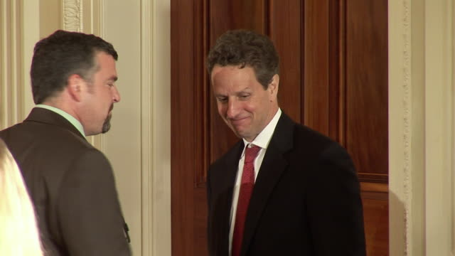 june 17 2009 ms treasury secretary timothy geithner talks with unidentified man in the east room after president obama's address on the economy /... - treasury stock videos and b-roll footage