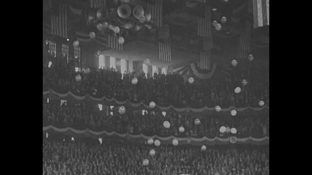 vídeos de stock, filmes e b-roll de crowds with political signs ñwe want repealî on the floor of the 1932 republican national convention in chicago / joseph l. scott, los angeles... - chicago 'l'