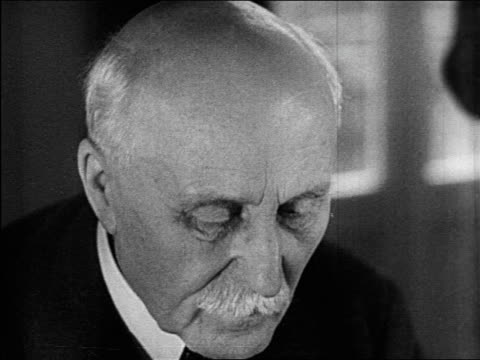 b/w june 1940 close up marshall petain looking down / educational - einzelner senior stock-videos und b-roll-filmmaterial