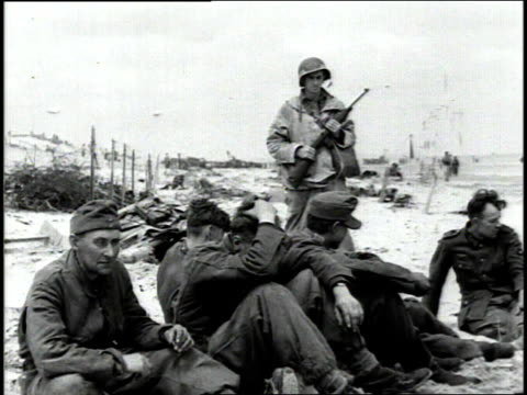 june 1944 ws german prisoners watching as other german soldiers dig trenches for barricades / normandy france - 1944 stock videos & royalty-free footage