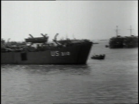 june 1944 ws naval armada at anchor off french shore / english channel - 1944 stock videos and b-roll footage