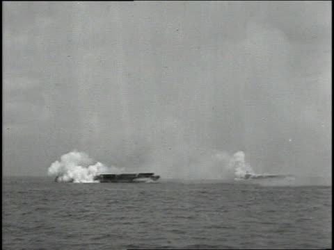 june 1944 naval warships shelling the normandy coast / english channel - 1944 stock videos & royalty-free footage