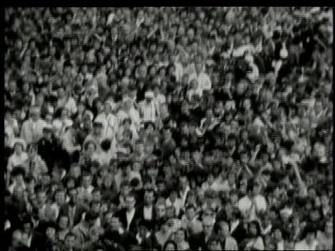 june 1963 john f. kennedy about to address berliners at cityhall platz / west berlin, germany - 西ドイツ点の映像素材/bロール