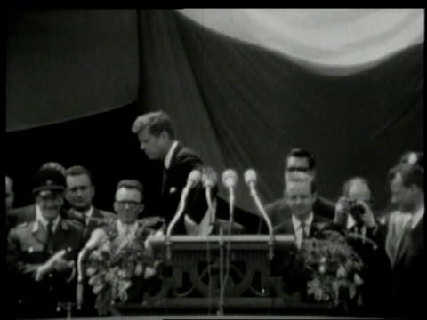 june 1963 ws john f kennedy steps back from podium after addressing berliners at city hall platz / west berlin germany - john f. kennedy politik stock-videos und b-roll-filmmaterial