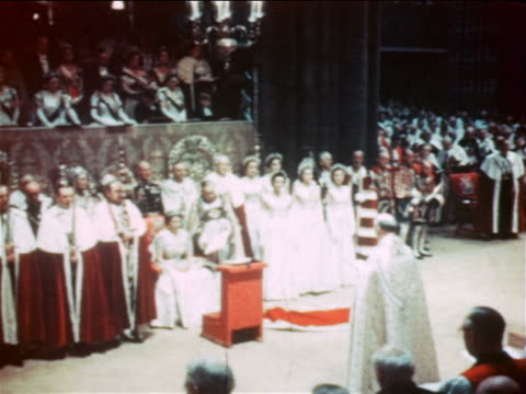 june 2 1953 queen elizabeth ii in coronation ceremony / westminster abbey / london / documentary - coronation stock videos and b-roll footage