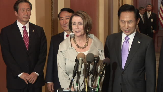 june 2009 ms speaker of the house nancy pelosi welcoming the president of south korea lee myungbak to capitol hill / washington dc / june 16 2009 /... - speaker of the house stock videos and b-roll footage