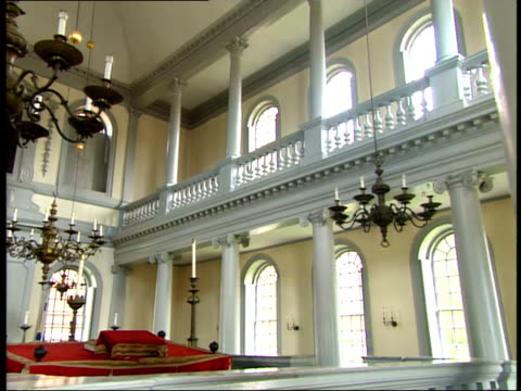 june 26 2003 pan decor inside the old north church in boston / massachusetts united states - old north church stock videos & royalty-free footage