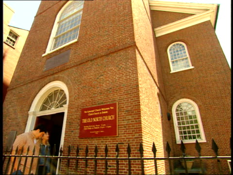 june 26 2003 la outside facade of the old north church in boston / massachusetts united states - old north church stock videos & royalty-free footage