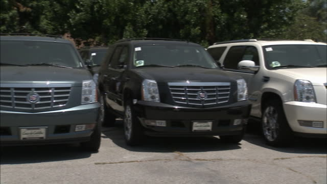 stockvideo's en b-roll-footage met june 30 2008 pan display of suvs and cars on dealership lot / detroit michigan united states - sports utility vehicle